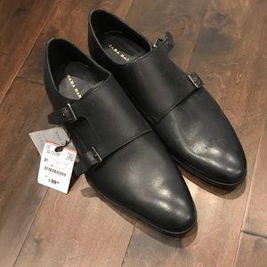Bnwt zara man black leather monk strap shoe 41/8